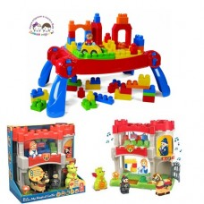 Игровой стол Mega Bloks с конструктором Макси 25 деталей, 5 машинок И С ОЗВУЧЕННЫМ ЗАМКОМ
