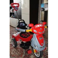 """Трехколесный детский велосипед коляска с ручкой """"Красный бумер"""" с музыкой"""